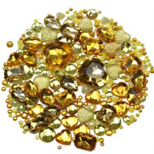 Mixed Pack of YELLOW Gems and Diamante Embellishments